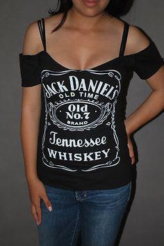 DIY Jack Daniels Top Shirt Whiskey Bar Rocker Chick Glam Rock     XS-XL