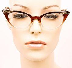 Sexy Cat Eye Crystals Black Brown Purple Red Clear Hot Eyeglasses Frames 1317 GR #Generic