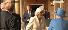 Hello ma'am: Camilla slides into a curtsey as she greets the Queen outside the Chapel Royal. The link takes you to a page with a video of each member of the family greeting the Queen as protocol dictates. Very interesting from a historical point of view, seeing this very old tradition being playing out is awesome.