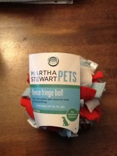Martha Stewart NEW Dog Fleece Chew Ball Toy BRAND NEW for Large Moderate Chewers sold $7.99