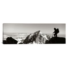 "East Urban Home Panoramic Hiker, Grand Teton Park, Wyoming Photographic Print on Canvas Size: 16"" H x 48"" W x 0.75"" D"