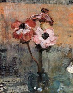 Piet Mondrian (Pieter Cornelis Mondriaan) (Dutch, 1872-1944): Anemones in a Vase, 1906.