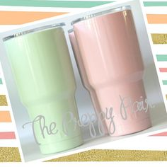 YETI Rambler 30oz Mint Green or Coral with Monogram Personalization | The Preppy Pair