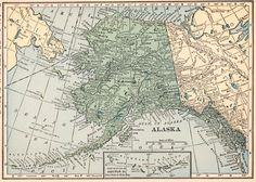 VINTAGE MAP OF ALASKA    This is an original, not reproduction, vintage map which was carefully removed from a 1923 atlas. The map measures
