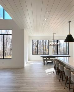 The shiplap ceiling over our kitchen and dining room is one of my favorite thing. The shiplap ceil Shiplap Ceiling, Ceiling Decor, Ceiling Design, Painted Wood Ceiling, Ceiling Panels, Style At Home, Living Room Empty, Dining Room Windows, Dining Rooms