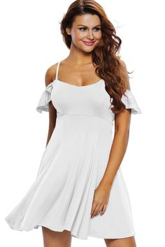 Robe Patineuse Blanche Douce Sexy A Bretelles Dos Nu MB22723-1 – Modebuy.com