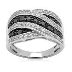 Sterling Silver Black and White Diamond Ring (1/2 cttw, I-J Color, I2-I3 Clarity)