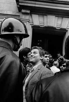 """"""" Student leader Daniel Cohn-Bendit (Danny the Red) in front of Sorbonne University, at the start of the """"May 1968 events"""" Paris, May [Credit : Gilles Caron] """" Vía: fotojournalismus Lausanne, Daniel Cohn Bendit, Gilles Caron, Mai 68, Fotojournalismus, French Icons, Pier Paolo Pasolini, Old Paris, Challenges"""