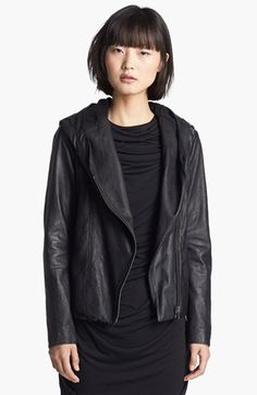 HELMUT Helmut Lang Hooded Washed Leather Jacket available at #Nordstrom