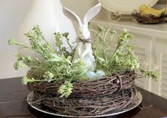 Love this idea of stacking two grape vine wreaths for easter decor!