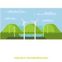 Wind energy stock vector image