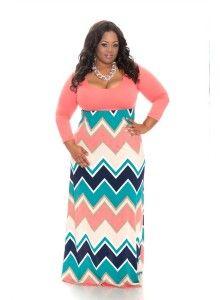 Coral Chevron Maxi Plus Size Dresses