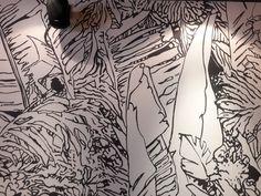"""Reproduction de fresque végétale sur mur de 10 mètre Peint à la main Restaurant """"Midi Minuit"""" Lyon 2 Confluence"""