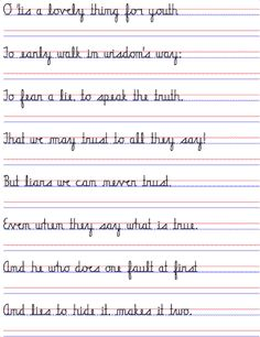 Straight cursive handwriting to practice - Angelina Zanti-Hindle - Pint