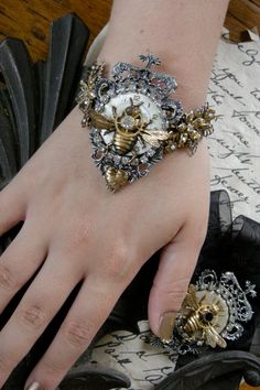 Hey, I found this really awesome Etsy listing at https://www.etsy.com/listing/104865027/steampunk-bracelet-for-a-queen-bee