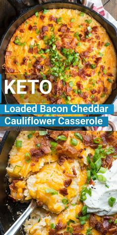 Keto Bacon Cheddar Cauliflower Casserole If you need a cheesy low carb side this Loaded Bacon Cheddar Cauliflower Casserole is packed with everything you love in a baked potato! At under 8 net carbs this is the perfect holiday keto side dish! Ketogenic Recipes, Diet Recipes, Cooking Recipes, Healthy Recipes, Ketogenic Diet, Easy Recipes, Paleo Food, Vegetarian Recipes, Paleo Diet