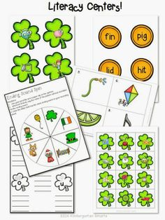 St. Patrick's Day Math and Literacy Centers with Printable Worksheets!