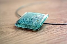 Aqua necklace  Fused glass necklace  Green glass by BGLASSbcn