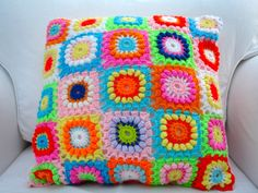 Crochet Cushion Pillow Bright Circles In A Granny by LillyBev