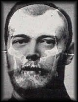 The superimposition of Tsar Nicholas's skull with a photograph of him.  The bones were identified using DNA from descendants of relatives of the Romanovs, including Prince Philip.