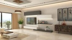 living room, Living Room Tv Cabinet Interior Design Modern Wall With Lines And A Very Contemporary Exquisite Finish The Shape Of Stand Or Fi: living room tv unit designs #contemporarylivingroom