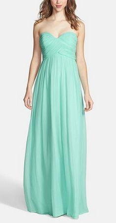 Mint chiffon gown by Donna Morgan
