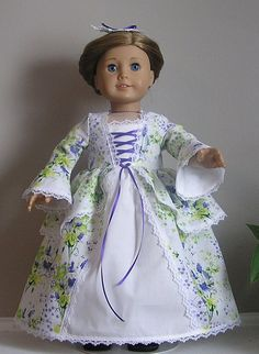 Purple Floral Linen Colonial Dress with Pinner Cap for AG  Felicity or Elizabeth or 18 Inch Doll