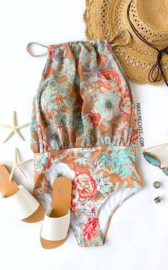 Floral Print One-Piece Swimwear