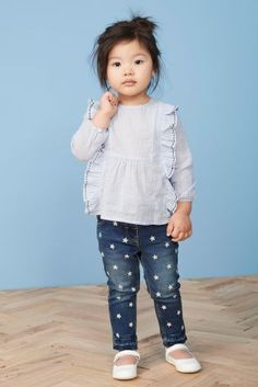 568fa8a5272 Blue Stripe Ruffle Blouse (3mths-6yrs) Dress Tutorials