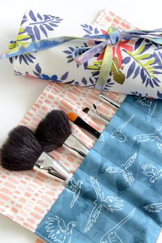 Makeup Brush Roll from Revamperate featuring Monteverde fabric by Hawthorne Threads Sew Together Bag, Makeup Brush Roll, Monteverde, Little Bag, Fabric Patterns, Organizers, How To Look Pretty, Makeup Brushes, Wallets