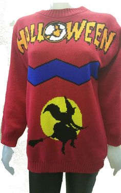 NEW HALLOWEEN WITCH ON BROOM STICK UNISEX KNITTED JUMPER TOP PARTY FANCY DRESS  #GN #Jumpers