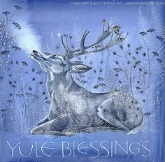 Stag in the winter with little birds and seed heads. Yule blessings. #yule #yuleblessings #stag #winter #seasons Sam Cannon, Tally Ho, Little Birds, Yule, Colored Pencils, Pencil Drawings, Moose Art, Blessed, Sculpture
