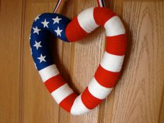 Patriotic Heart Wreath 4th July Wreath