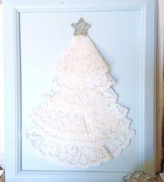 ja.. ideal para navidad.. ya sé que voy a hacer este año en las tarjetas de navidad :D                         Peaches & Maple paper doily Christmas tree