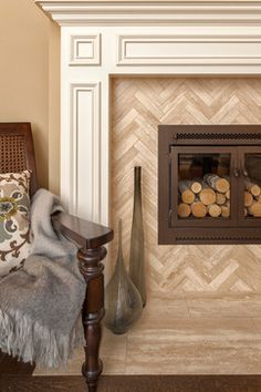 Fireplace With Herringbone tile or brick