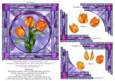 Stained Glass Tulips 6 X 6 Inch Triple Stacker Card