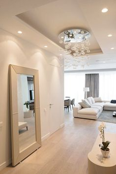 Contemporary Apartment Design in Elegant White Interior: Big Mirror Placement For Dressing Activity Placed In A Room Connected With Moscow Apartment Living Room ~ FreeSharing Apartment Inspiration Luxury Apartments, Luxury Homes, Living Room Designs, Living Room Decor, Plafond Design, Sweet Home, Deco Design, Home Fashion, Daily Fashion