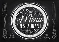 Illustration about Menu restaurant lettering on a plate with a fork and a spoon on the side in retro style drawing with chalk on blackboard. Illustration of knife, design, letter - 37775180 Menu Restaurant, Pasta Menu, Chalk Lettering, Chalkboard Background, Estilo Retro, Menu Template, Blackboards, Vector Art, Retro Fashion