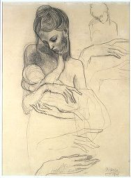 Pablo Ruiz Picasso  Spanish (Malaga, Spain 1881 - 1973 Mougins, France)  A Mother and Child and Four Studies of Her Right Hand, 1904; verso: Self-Portrait Standing, 1903, 1903-1904  Drawing