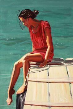 """Saatchi Art Artist Antoine Renault; Painting, """"Testing the water"""" #art"""