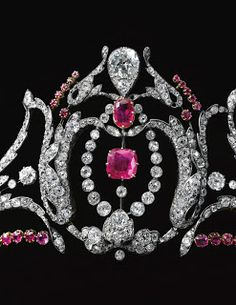 A ruby and diamond tiara, second half of the 19th century, formerly in the collection of Mary, Duchess of Roxburghe.Marie Poutine's Jewels & Royals: Gem Set and Diamond Tiaras