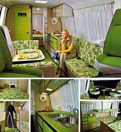 Retro green camper interior - a little bright!