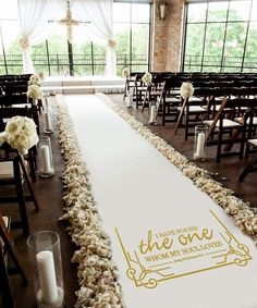 Healon 50 x 3 ft Wedding Aisle Runner White Aisle Runner Rug with Pull String for Wedding Ceremony and Party Golden