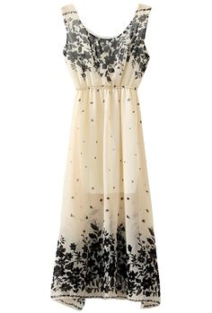 Beige Sleeveless Vintage Floral Chiffon Dress - Sheinside.com