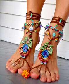 PEACOCK BAREFOOT sandals peacock feather beach wedding sole less shoes photography props HIPPIE foot jewelry beach. $90.00, via Etsy.