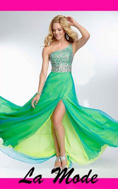ONE SHOULDER BEADED BODICE BACKLESS PROM DRESS via La Mode. Click on the image to see more!