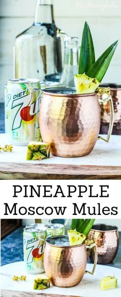Pineapple Moscow Mules | Moscow Mule Recipe | Tropical Moscow Mule | 7UP Moscow Mule #ad #mixitupalittle
