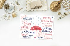 Umbrella Baby Shower Invitation- Baby Sprinkle- Girl- Pink- Navy Blue- Rain Showers- Typography- Watercolor- Digital File- Printable by 4414Designs on Etsy