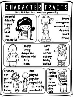 This is a great list of character traits for beginning writers. It is divided into 5 groups of similar words, with visuals to support early readers. Character Traits List, Character Traits Activities, Character Education, Physical Education, Reading Strategies, Reading Skills, Reading Comprehension, Reading Activities, Narrative Writing