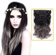 Creamily Natural Black to Dark Grey 2-tone Ombre Color Wa...